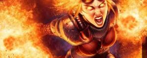 Angry fire woman